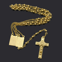 18K Gold Plated Rosary Beads Jesus Piece Cross Religious Stainless Steel Necklace Womens Mens Gold Chain