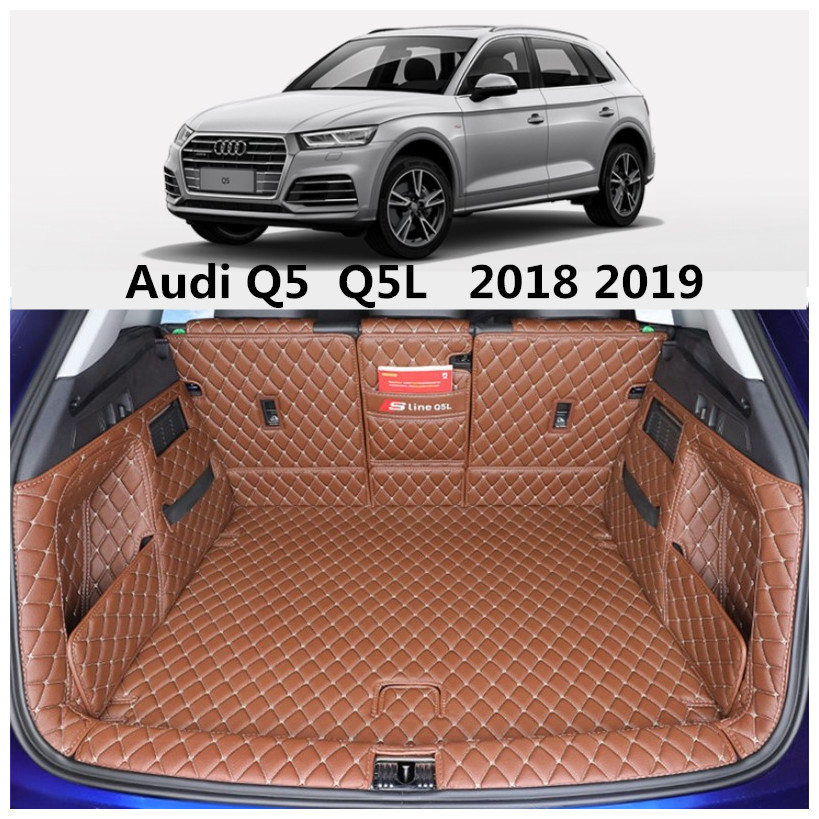 Full Rear Trunk Tray Liner Cargo Mat For Audi Q5 Q5L 2018 2019 Floor Protector foot pad mats Embroidery Leather By EMS
