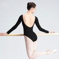 Long Sleeve Adult Ballet Dance Leotard Women Black Wine Red Ballet Dancewear Female Dance Practice Clothes