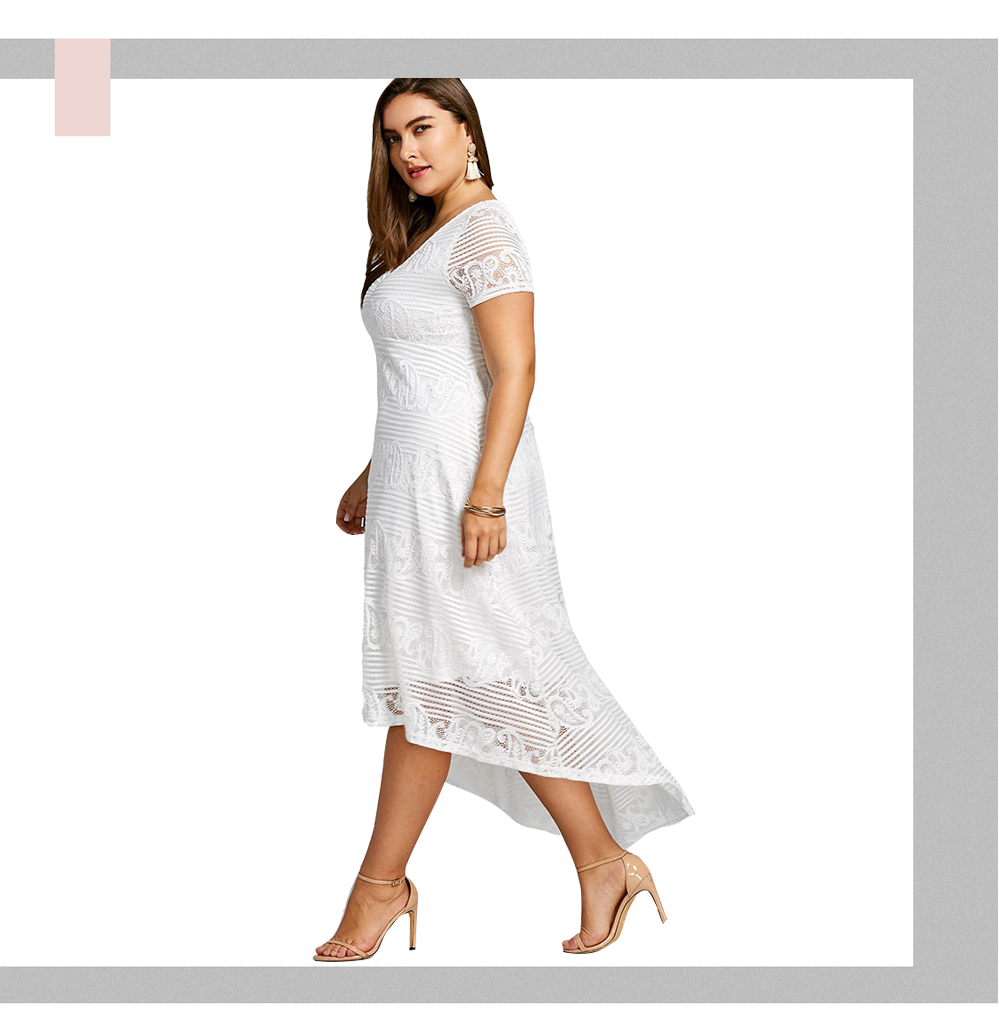 3270c087af ... Plus Size XL 5XL Summer Midi Dress Women Short Sleeves White Color V-Neck  Semi ...