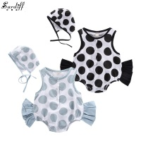 2017 New Arrival Baby Dot Printed Romper Sleeveless Rompers Cotton Summer Clothing Set Fashion Twins Babies