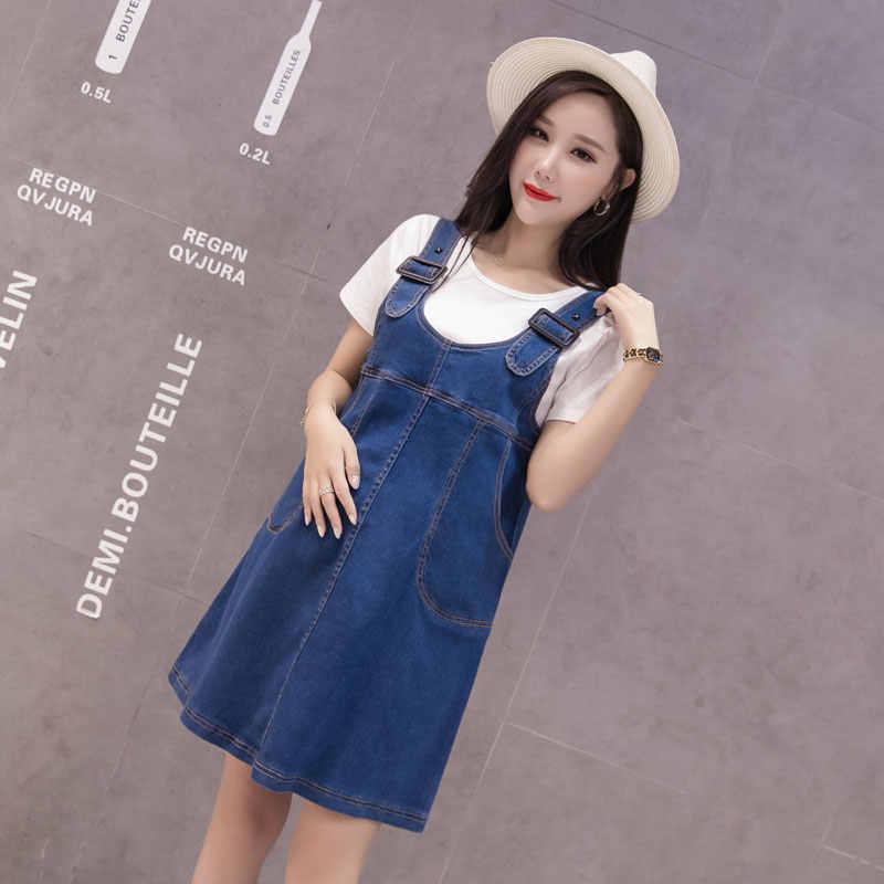 b8d9193926 ... Pengpious pregnant women shoulder-straps summer denim dress with  pockets plus size preppy style maternity