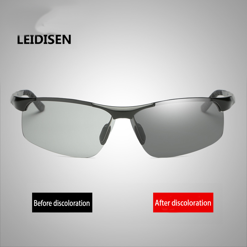 2017 LEIDISEN Brand Men Polarized Sunglasses Photochromic