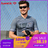 Santic Cycling Jerseys Men Mesh Cycling Clothing Bike Shirt MTB T shirts Comfortable and Breathable Asian K9M2091G M 3XL