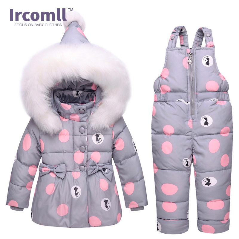 Ircomll New Winter Girls Clothing Sets Fur Hooded Toddler Clothes Dot White Dark Down Coat +Trousers Waterproof Warm Snowsuit Ircomll New Winter Girls Clothing Sets Fur Hooded Toddler Clothes Dot White Dark Down Coat +Trousers Waterproof Warm Snowsuit