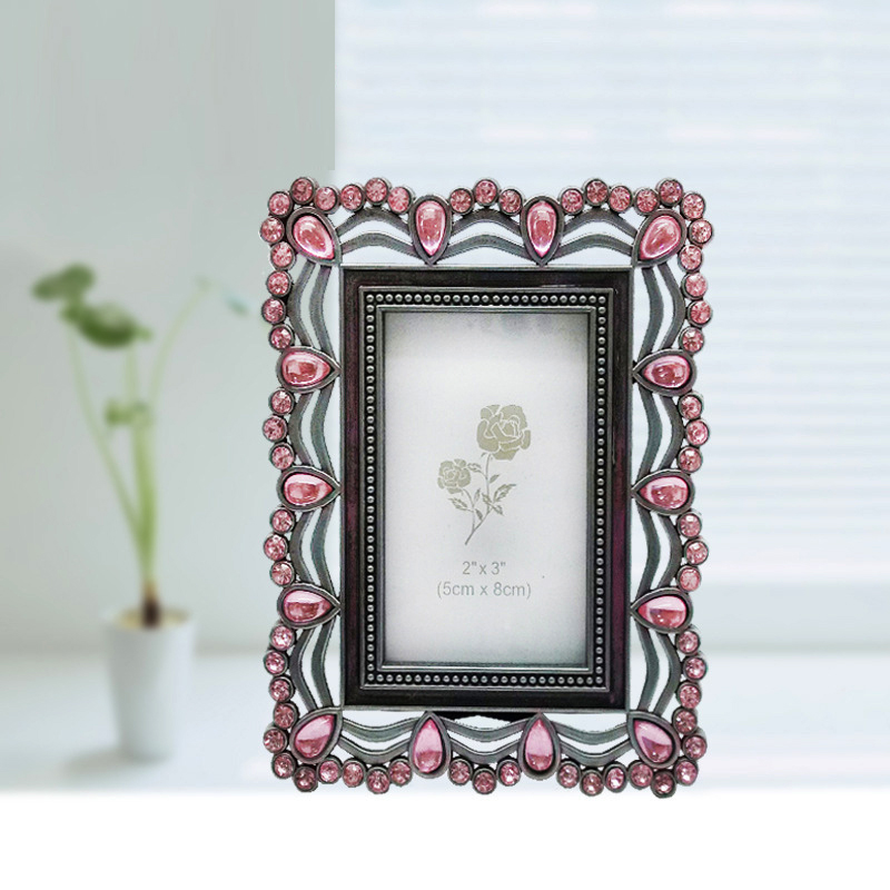 New Fashion Pink Crystal Photo Frame Lovely Diy Metal Picture Frame