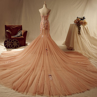 2016 Elegant Light Pink Mermaid Lace Appliques Prom Dresses Pearls Chapel Train Strapless Sweetheart Prom Gowns
