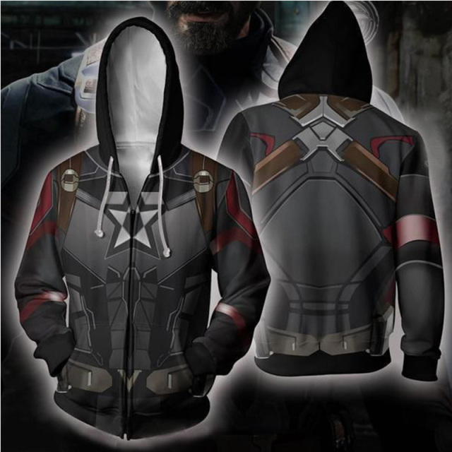 AVENGERS ENDGAME 3D CAPTAIN AMERICA MAN ZIP UP HOODIE