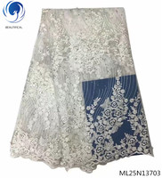 Beautifical french tulle lace fabrics african fabrics laces with rhinestones 2019 laces fabrics dress 5yards/lot ML25N137