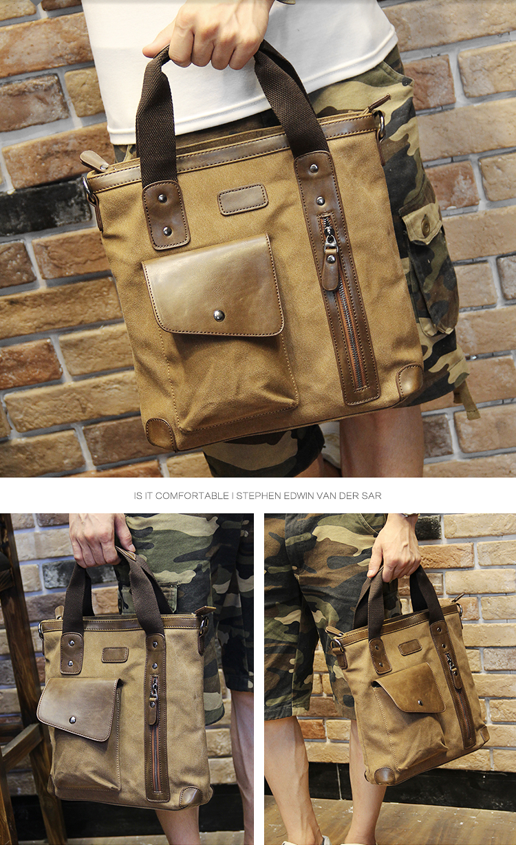 Men's bags Brand Vintage Men's Messenger Bags Canvas Shoulder HandBag Fashion Men Business Crossbody Bag Casual Travel Handbag 21