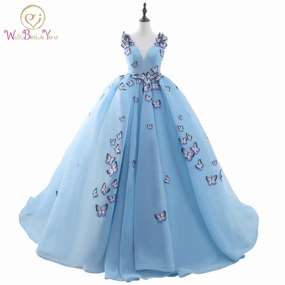 100% Nyata Gambar Quinceanera Gaun Light Blue Ball Gown Prom Dress Tanpa Lengan V-neck Cotton Tulle dengan Kupu-kupu Applique Perban
