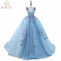 100% Real Image Quinceanera Dress Light Blue Ball Gown Prom Dress Sleeveless V neck Cotton Tulle with Butterfly Applique Bandage