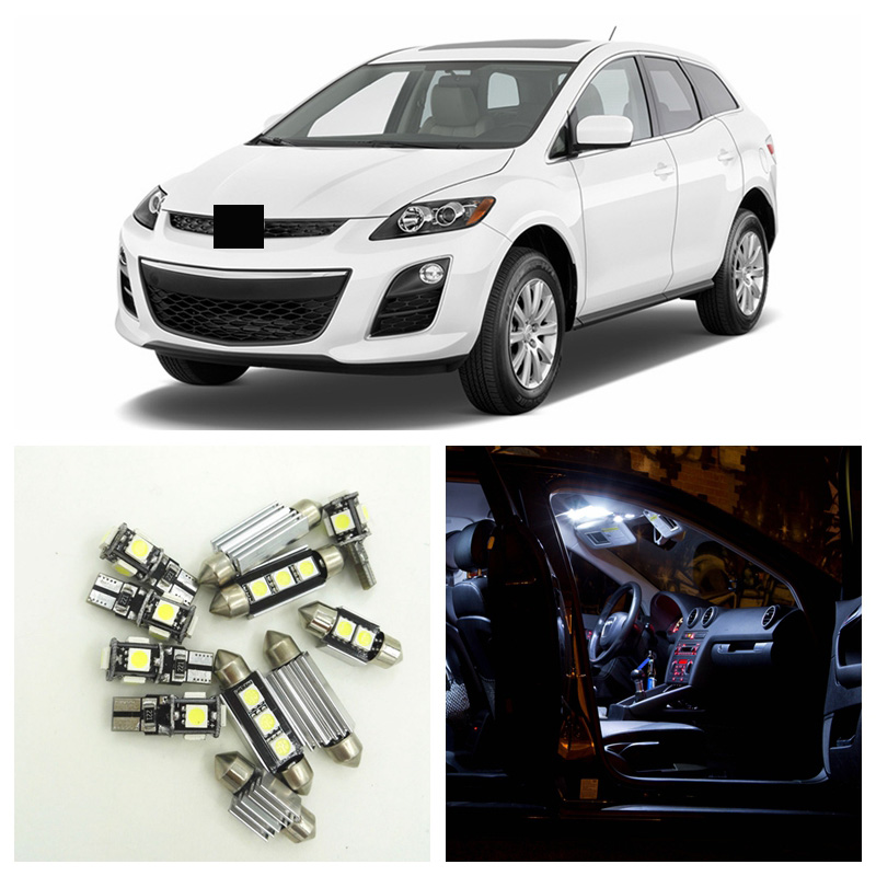 12pcs Super Bright White <font><b>LED</b></font> Light Bulbs Interior Package Kit For 2007-2012 <font><b>Mazda</b></font> CX-7 <font><b>CX7</b></font> Map Dome Trunk License Plate Lamp image