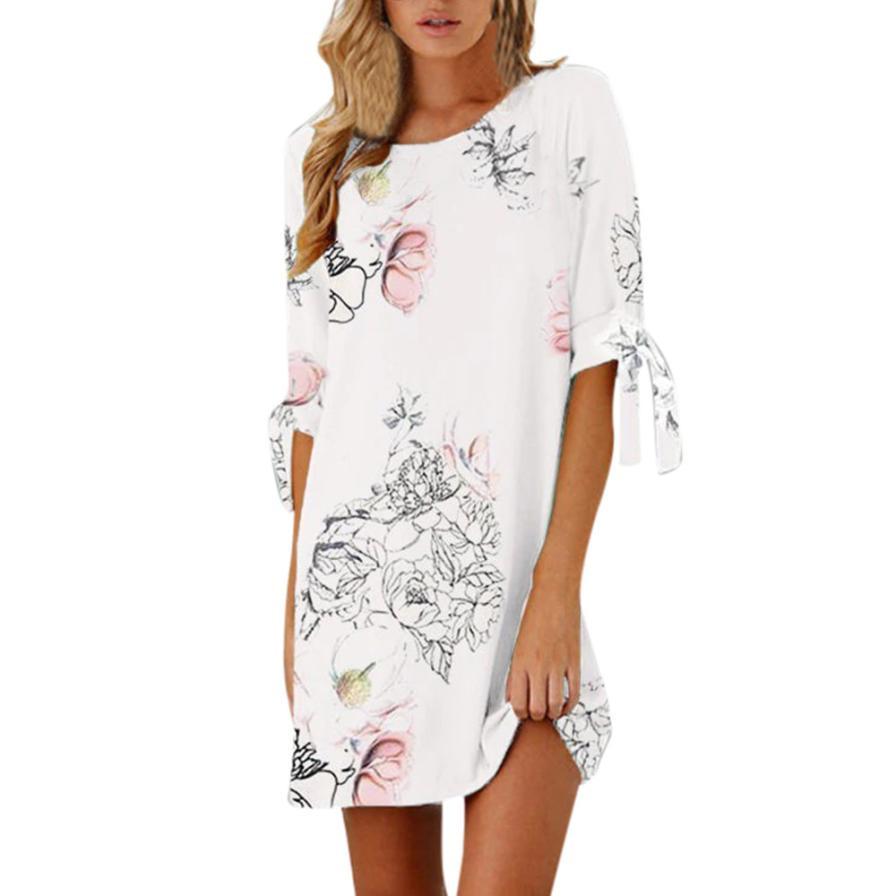 HTB1X4fYw4uTBuNkHFNRq6A9qpXaB KANCOOLD dress Women Summer Half Sleeve Bow Bandage Dresses Floral Striaght Casual Short Mini dress women 2018jul19