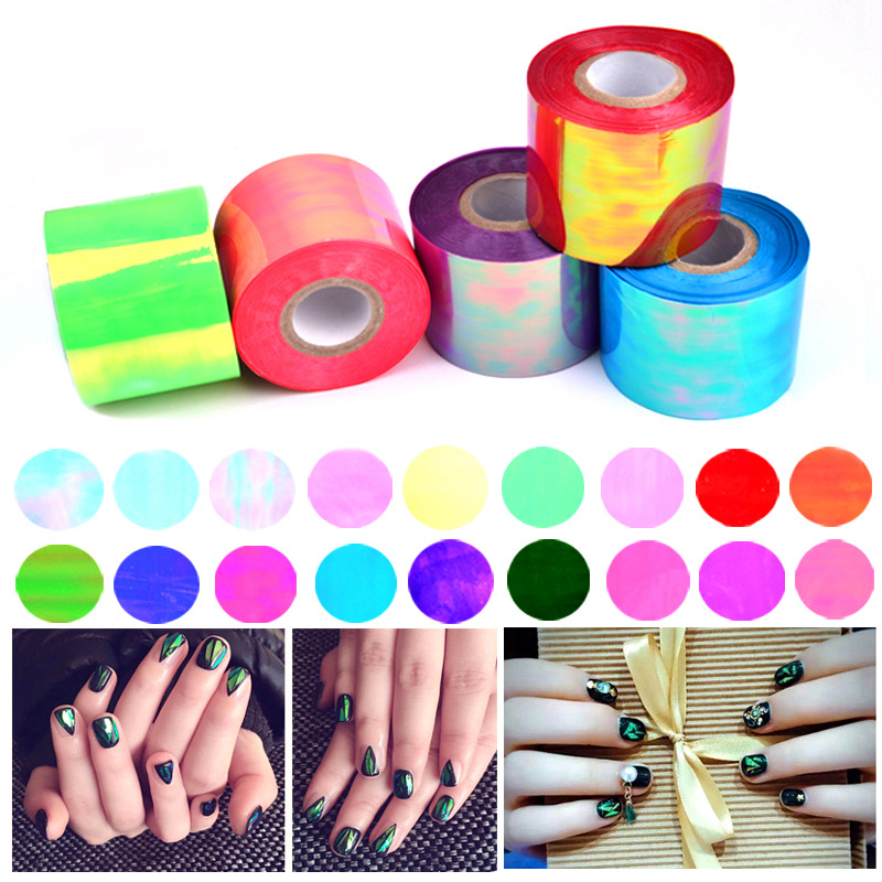 1roll 5cm*100m 20 Color Aurora Cellophane Platinum Glass pieces nails Irregular Mirror Line Nail Art Tips Strip Sticker Decal 108 design gold foil flowers stickers for nails 6 color metal bronzing decal metallic 3d stamping nail art sticker tips deco
