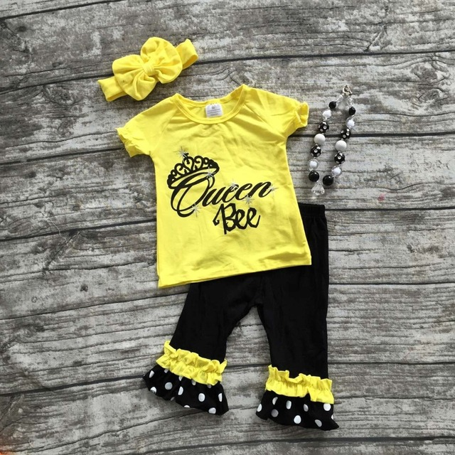 hot sale baby girls Queen Bee outifts crown clothes girls boutique outfits ruffle capris sets with matching necklace and bow set