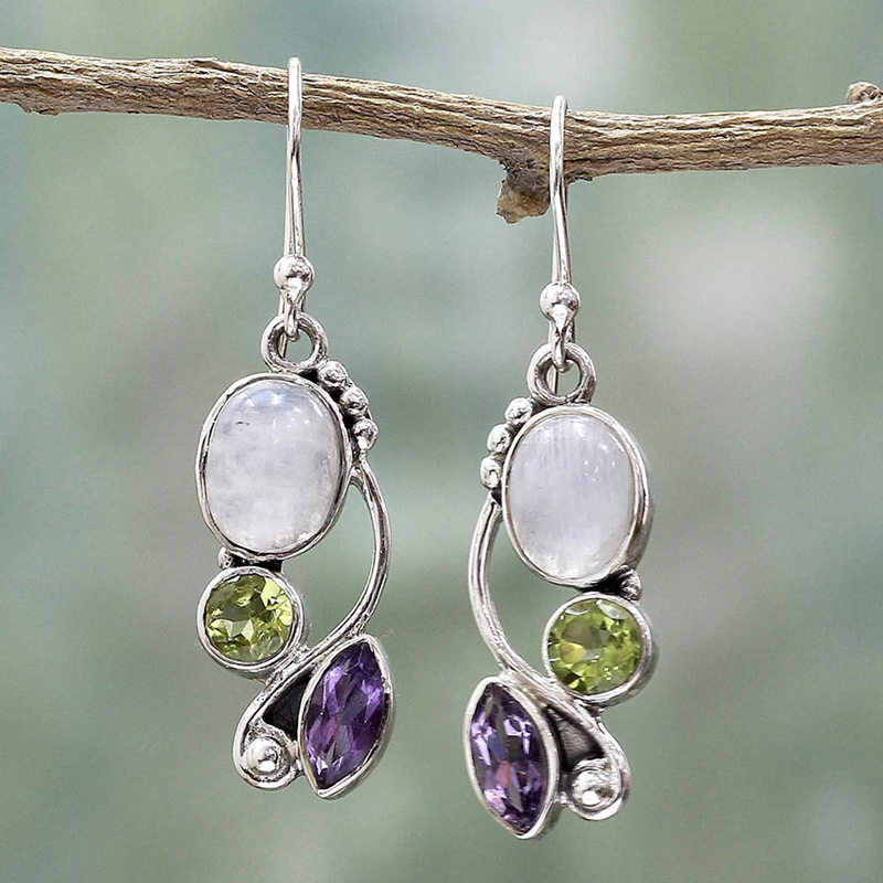 VINTAGE เลียนแบบ Moonstone Brincos Multicolor คริสตัล Dangle ต่างหูสำหรับผู้หญิงงานแต่งงานเครื่องประดับ Boho ต่างหู