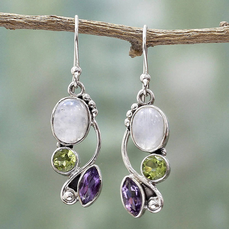 Vintage Imitation Moonstone Brincos Multicolor Crystal Dangle Earrings For Women Wedding Jewelry Boho Statement Earring