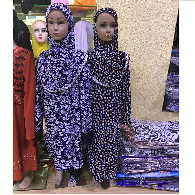 12 pieces lot Wholesale Latest Designs Islamic Muslim Girls Abaya kids Kaftan Dress Clothing in
