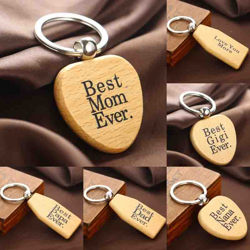 Wooden Keychain Keyrings Mom Dad Nana Birthday Gift Papa Grandma Girlfriend Wood Key Chain Jewelry Gifts Presents Pendants