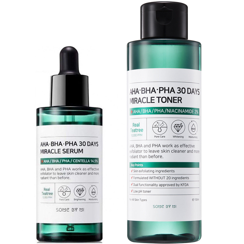 SOME BY MI AHA BHA PHA 30 Days Miracle Toner 150ml + Miracle Serum 50ml Facial Serum Acne Treatment Blackhead Remove Sebum