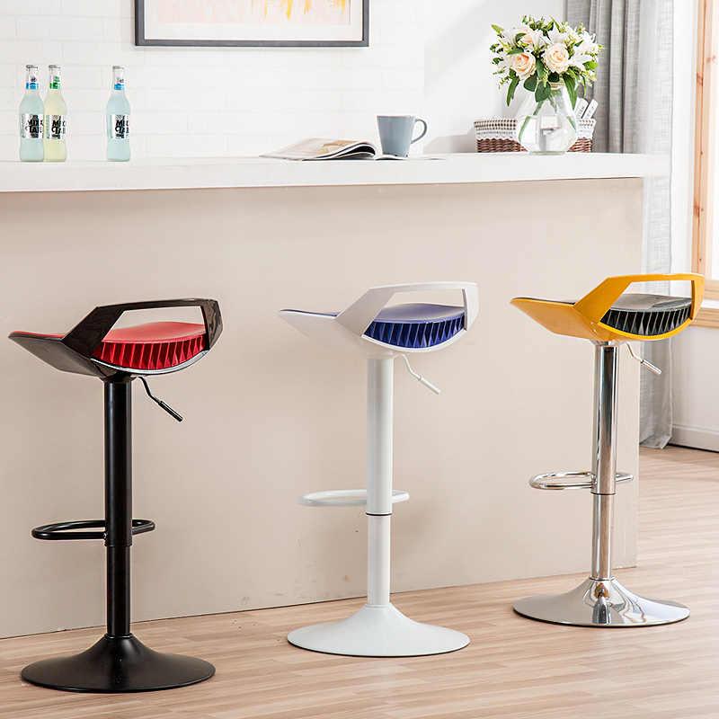 Креативное пластиковое поднятое барное кресло с ручкой поворачивается многофункциональный высокий стул простой бытовой обеденный стул передний стол стул