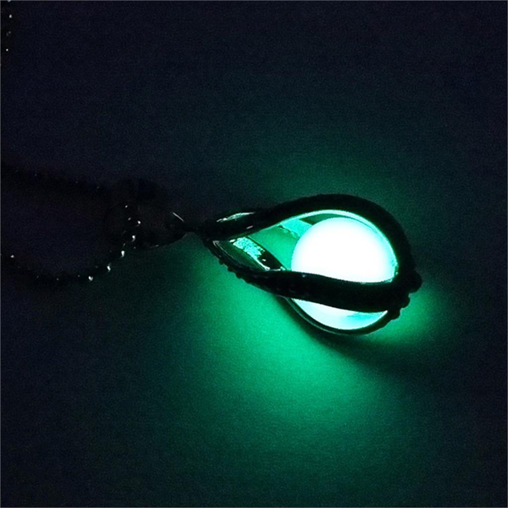 Glow In the Dark Luminous Stone Locket Pendant Necklace