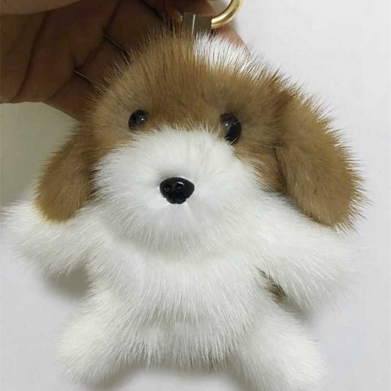 LLavero de pompón de piel natural con llaveros de conejo en el bolso con llavero de piel de perro