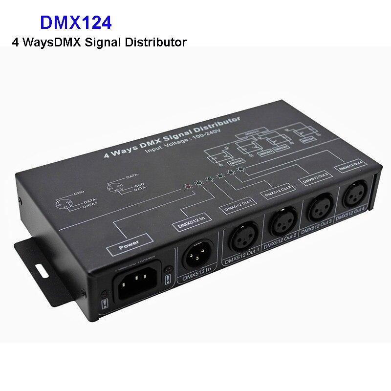 DMX124 DMX512 Amplifier Splitter DMX Signal Repeater 4CH 4 Output Ports DMX Signal Distributor; AC100V-240V Input;Free Shipping