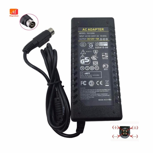 12V6A AC DC Converter Adapter 4 Pin Switching Power Supply 72W 4 Pin For LCD TV Monitor Adapter DVR Cable Cord Charger