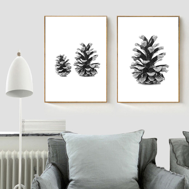 Nordic Minimalist Black White Canvas Poster Pine Cones Wall Art ...