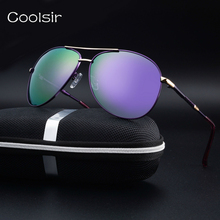 2017 coolsir piloto gafas de sol polarizadas diseñador de la marca de moda los hombres de marco de metal espejo lente de conducción de viaje gafas de sol hombre