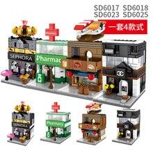 SEMBO City Walking Street View Beauty Pharmacy Shop Buildings Blocks Educational Toys for Children gift