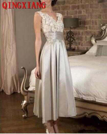 2019 Sexy dentelle Satin a-ligne thé longueur mères robes col en V ruban robes de soirée mère de la mariée robes de grande taille Vestido