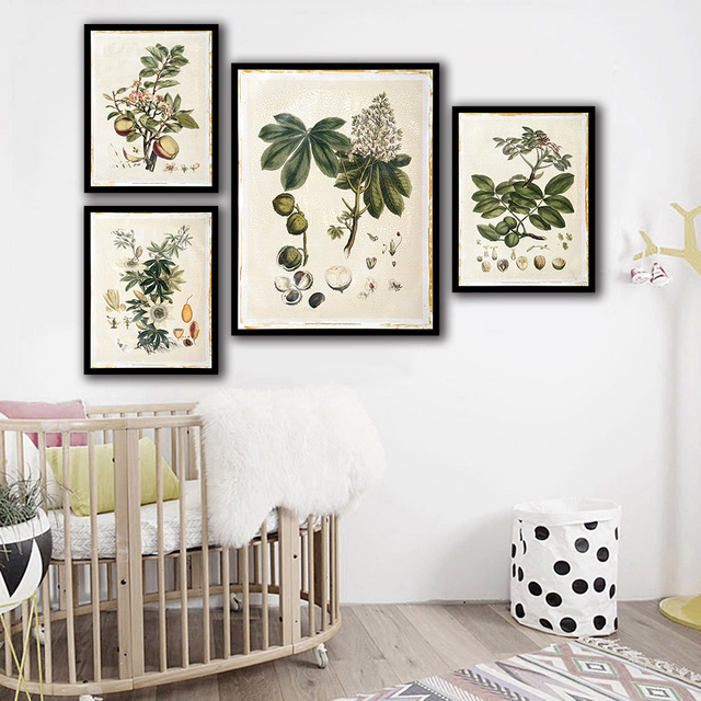 HD Print Painting Minimalist Poster Wall Pictures Green Plant Fruit Nordic Style Canvas Artwork For Home Wedding Decoration