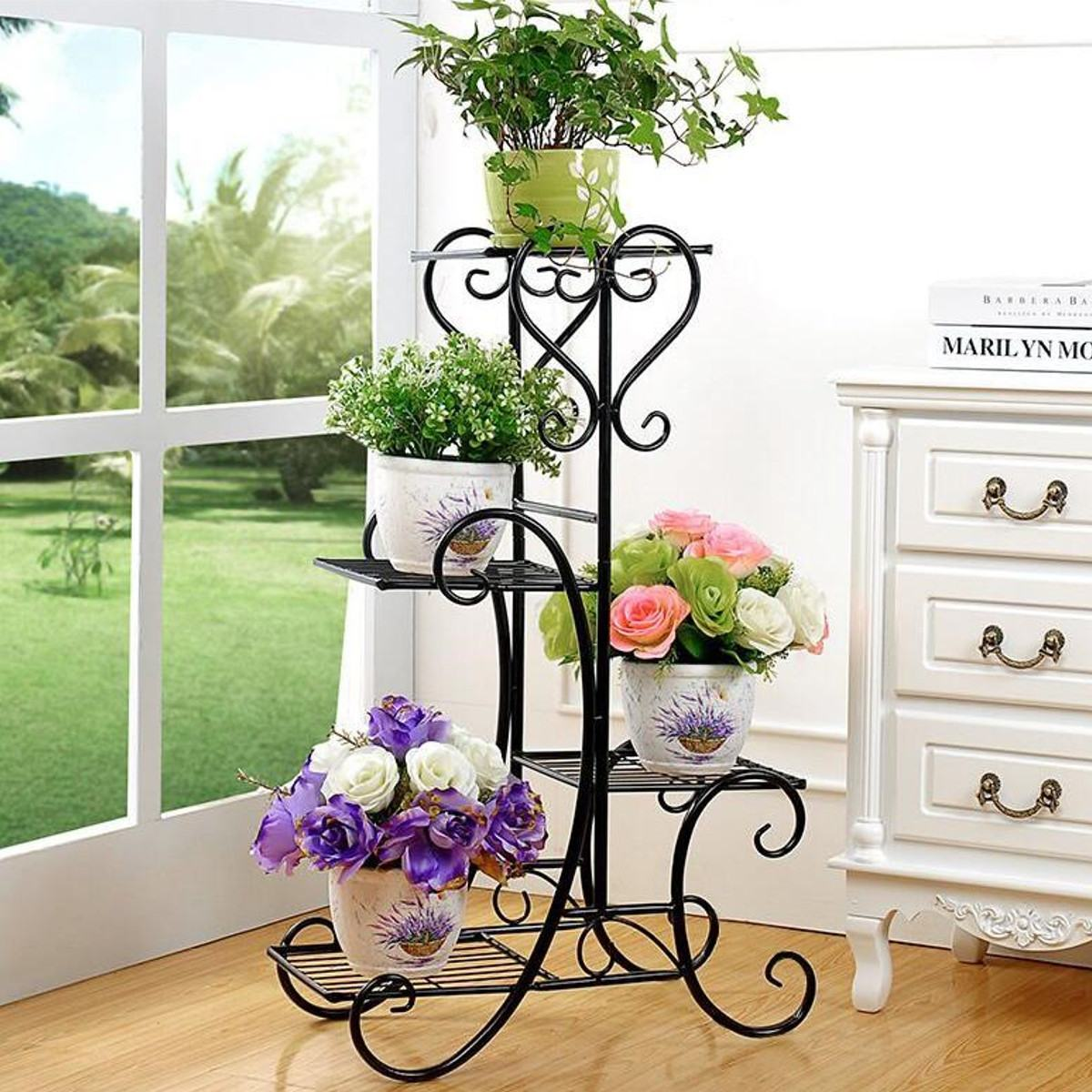 84x48x25cm 4 Tiers Metal Flower Plant Display Stand Black Home Garden Indoor Outdoor Plant Flower Pot Storage Rack Corner Shelf