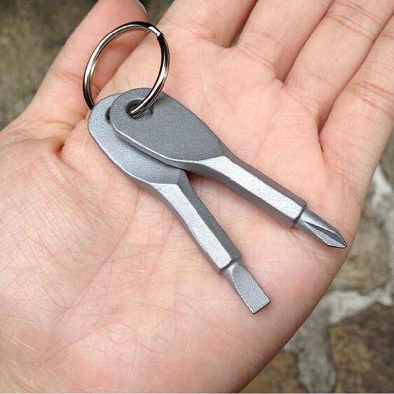 2 قطعة Multitool المفاتيح الشظية وعاء من الستانليس ستيل الأسود متعددة أدوات حلقة رئيسية EDC مفك مجموعة جيب أداة خارجية مجموعة