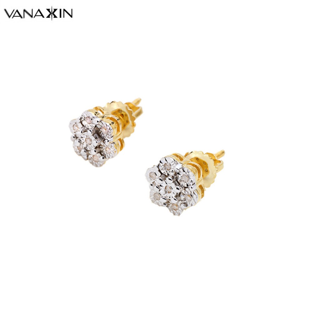 VANAXIN Women Stud Earrings 925 Sterling Silver AAAAA Natural Stone Jewelry  White Rose Gold Color Earring Gift Brincos Screwback a079a1e60f7c
