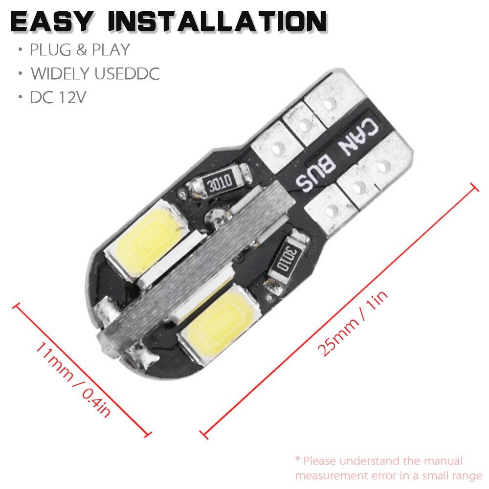 10Pcs 12V 8W T10 5730 SMD Black LED Side Car Wedge Light Lamp Decoded Bulb
