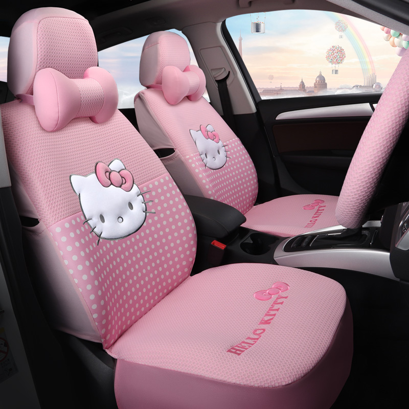 Cartoon Hello Kitty rose automobiles siège couvre coton quatre saisons femmes auto-housses coussin set accessoires de voiture mignon pour les filles - 2
