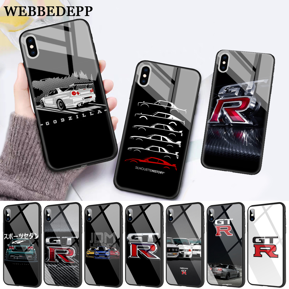 WEBBEDEPP NISSAN GTR Glass Phone Case for Apple iPhone 11 Pro X XS Max 6 6S 7 8 Plus 5 5S SE