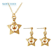 Super Hot Japanese Beauty Girly Series Guardian Star Five-Star Cute Earring Necklace Womens Jewelry Set Brincos Prom Dating