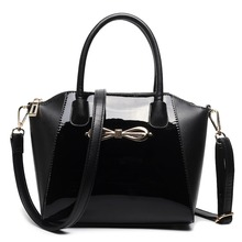 New fashion women girl Adorable and sleek structured patent leather bow front shoulder handbag cross body bags totes bags
