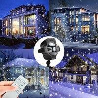 Sxzm降雪ledライトクリスマス防水回転妖精スノーフレークプロジェクターランプ付きワイヤレスリモート用ガーデン