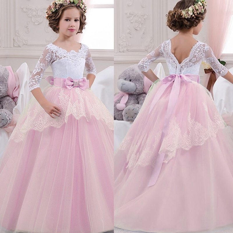 Kids Girls Long Party Prom Gowns Wedding Dress Plus Size Teenaage Girl Lace Winter Children Clothes Fancy Christmas Girl Dresses christmas plus size music notes halter dress