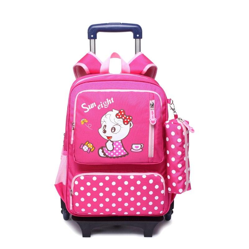 95b25431aca5 Nylon waterproof children school wheeled bag kids trolley backpack mochila  infantil escolar feminina for teenagers girls boys-in School Bags from  Luggage ...