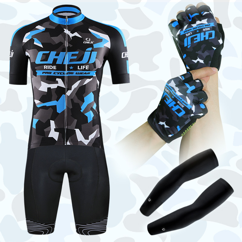2017 Cheji Pro Men Cycling Jersey Set High Breathable Bike Jerseys Gloves UV Arm Sleeves Bule Camouflage Fit Cycle Clothes China veobike men long sleeves hooded waterproof windbreak sunscreen outdoor sport raincoat bike jersey bicycle cycling jacket