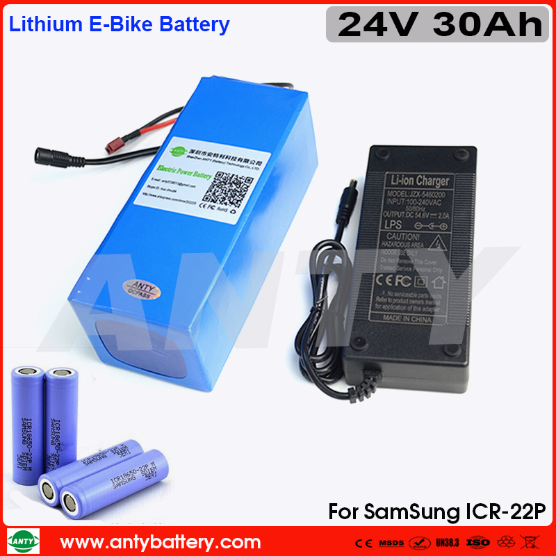 Battery Pack 24v 30Ah High Capacity Lithium Electric Bike Battery 24v with 2A Charger Built in 50A BMS for Samsung 18650 Battery 24v 15ah lithium battery pack 24v 15ah battery li ion for 24v bicycle battery pack 350w e bike 250w motor with 15a bms charger