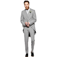 High quality men suits fashion lapel groom suits One Button Tail Coat Three Pockets Groom Tuxedos custom(Jacket+Pants+Vest)