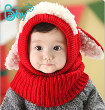 Baby Beanie Winter Kids Hat Scarf with Toddler Neck Warmer Hooded Earflap Knitted Cap Cute Set